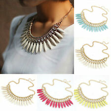 Women Fashion Crystal Pendant Chain Choker Chunky Statement Bib Necklace BOHO