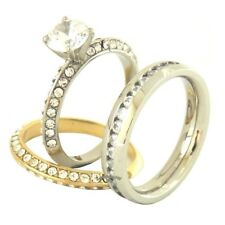 His Hers Two Tone Gold Stainless Steel Wedding Ring Set Mens All Around CZ Band