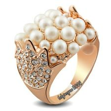 Noble Party Fashion RIng 18K Rose Gold GP Clear Crystal Pearl   M762