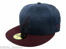 New Era Men's MLB 59FIFTY Atlanta Braves Mel-Suede Fitted Cap - Navy & Maroon