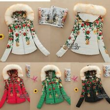 Printed winter new women hooded fur collar down jacket padded cotton jacket