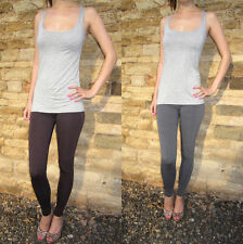 Ankle Length Leggings Viscose Elastane Chilli Chocolate or Grey Sizes 8-18 210g