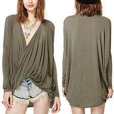 Women V Neck Pleated Cross Oversize Loose Batwing Sleeve T Shirt Tee Blouse Tops