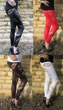 LONG LENGTH Womens Leggings Slashed SEXY WET LOOK Size 6 8 10 12 14 16 18 S M L