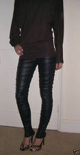 Ankle Length Leggings RATS style Ruched Wet Look  Black ALLSIZES... 210gsm