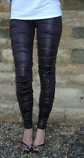 Ankle Length Leggings RATS Chocolate Ruched Wet Look Size Uk 8 10 12 14 16 18 20