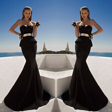 Sexy Strapless Mermaid Long Cocktail Dress Party Prom Gown Formal Evening Dress