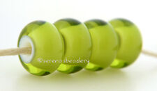 OLIVE Green White Heart lampwork glass beads TANERES sra - glossy or matte -