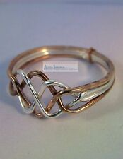 Silver & Bronze 4 Band Turkish Interlocking Puzzle Ring - Open Weave Design
