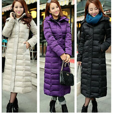 Women's Full length jacket winer warm puffer duck down coat Hooded Long outwear