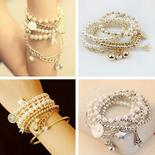Multilayer Romance Pendant Pearl Beaded Metal Bangle Chain Jewelry Bracelet JT12