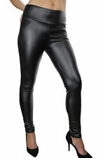 ICE (1458) Sexy Super Skinny Leather Look Jeggings Jeans Black 8-18