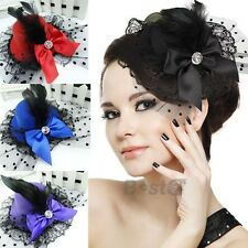 Womens Lace Fascinator Top Hat Hair Accessory Clip Feather Pillbox Party Wear