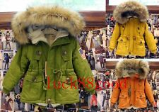 winter children's clothing faux fur collar coat thick lamb girls and boys jacket