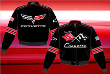 Corvette Jacket Black Twill Adult Embroidered Logos Licensed JH Design Jackets