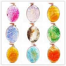 Beautiful Mixed Color Dragon Veins Agate Oval Pendant Bead XLZ-193
