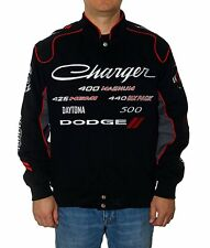 Dodge Charger Racing Collage Jacket Adult Black Twill New JH Design Jackets