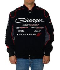Dodge Charger Jacket Racing Collage Embroidered Logos Mens Twill Jacket NEW