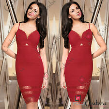 Womens Evening Party Red Mesh Lace Panel Pencil Bodycon Cocktail Long Midi Dress