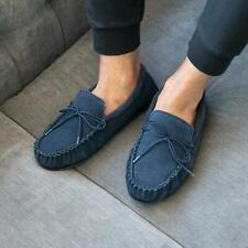 Sleepers BRUCE Mens Leather Suede Comfy Casual Cosy Moccasin Slippers Navy Blue
