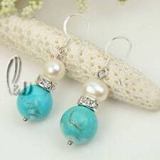 Chic White Genuine pearls&Natural Turquoise Silver Earrings AU SELLER e015-19