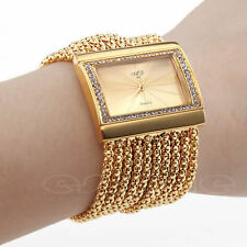 Fashion Classic Quartz Women's Gold Silver Rhinestone Alloy Band Bracelet Watch