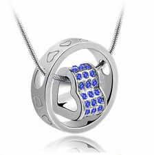 Heart Ring Crystal Rhinestone Pendant Love Necklace Xmas Gift For Daughter Wife