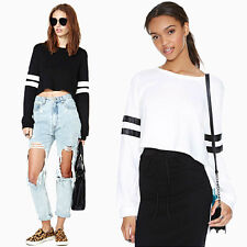 Womens Crewneck Tops Striped Pullover Casual Tee Long Sleeve Cropped Sweatshirts