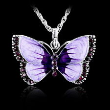 Fashion Women Jewelry Enamel Butterfly Crystal Silver Pendant Necklace Chains