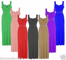 New Women's Diamante Long Evening Maxi Party Dress Ladies Sleeveless plus Size