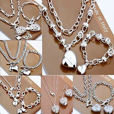Hot Sale store promotion Fashion 925Jewelry Solid Silver Set+ Gift Box AA08