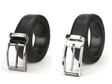 Mens Black Bonded Leather Business Office Dress Belt Snap On Silver Tone Buckle