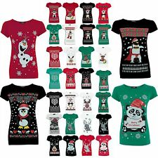 Womens Ladies Christmas Xmas Glitter Olaf Reindeer Batman Penguin Tee Shirt Tops