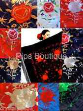 New Beautiful XL Square Spanish Flamenco Dance Shawl With Fringe 150cm