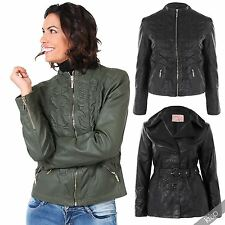 Womens Soft PU Leather Belted Collared Mac Jacket Vintage Coat Plus Size 18-24