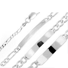 LOWEST PRICE! FIGARO LINK I.D. BRACELET SOLID .925 STERLING SILVER Made in Italy