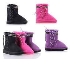 Slip On Lace Up Casual Kids Shoes Girls Youth Ankle Boots Faux Fur Interior