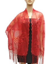 Lily Flower Shawl Long Sheer Shiny Lace Metallic Sequin Evening Bead Scarf Wrap