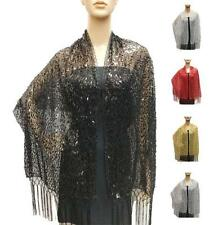 Ridged Glitter Evening Lace Long Tassels Sequin Shiny Light Shawl Sheer Scarf