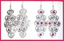 Graduated Layers of Hearts and Bead Long Dangle Earrings * U Pic