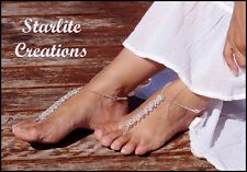 Barefoot Sandals Clear AB Crystal PRINCESS Beach Bridal Foot Jewels handcrafted