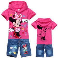 Cute Kids Girls Minnie Mouse T-Shirt Hoodie+Denim Shorts Outfits Suits 2-8 Years