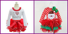 Baby Kid Santa Xmas Clothes Toddler Red Christmas Girls Dress Tutu Skirt Outfit