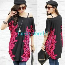 Sexy Women Palace Style Flower Tops Blouse Batwing Short Sleeve Loose T Shirt