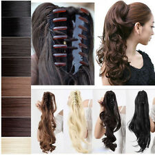 Clip In Ponytail Pony Tail Hair Extension Claw On Hair Piece Wavy Straight HG001