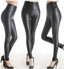 S-3XL Plus Size Black Faux Leather Stretch Work High Waist Tights Pant Legging