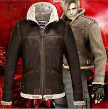 RE4 RESIDENT EVIL 4 LEON KENNEDY'S PU JACKET Cosplay Winter Warm Coat Costume