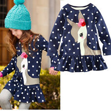 1-7Y Baby Kids Girls Cute Deer Long Sleeve Cotton Polka Dots Top Dress T-Shirt