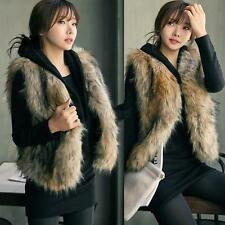 Womens Faux Fur Waistcoat Short Vest Gilet Jacket Coat Sleeveless Outwear S-XXL