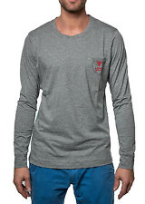 Diesel Men's Long Sleeve Shirt Umlt - Justin Crew Neck - Gray Mix